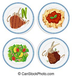 Four types of  food on round plates illustration