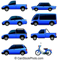 Different types of transportations in blue color...