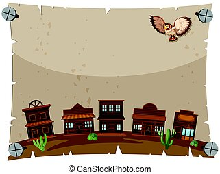 Paper template with western town