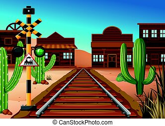Train track through western town illustration