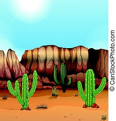 Scene with canyon and cactus in desert