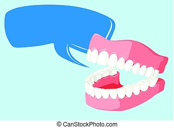 Speech bubble template with clean teeth