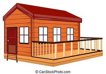 Wooden cottage with terrace illustration