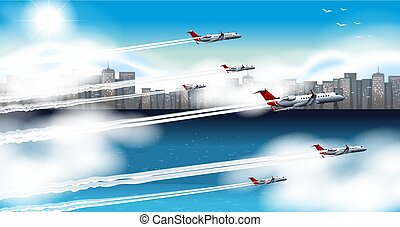 Many airplanes flying in sky