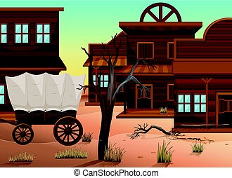 Wagon and many shops in western town illustration
