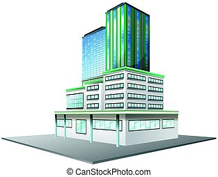 Office building with glass windows illustration