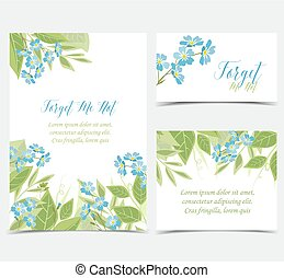 Vector blue forget me not flowers - Set of card vector...