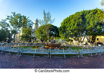 Plaza in Valladolid, Mexico