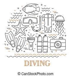 Scuba diving line art background