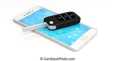 Car key on a smartphone - white background. 3d illustration