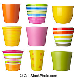 flower pot gardening - collection of flowerpots on white...