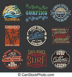 t-shirt graphics - set summer surfing, typography surfing,...