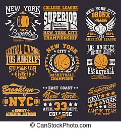 t-shirt graphics - Sport Typography Graphics logo set,...