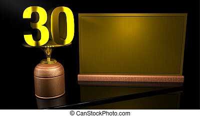 Rendering 3D Wooden trophy with number 30 in gold and golden...