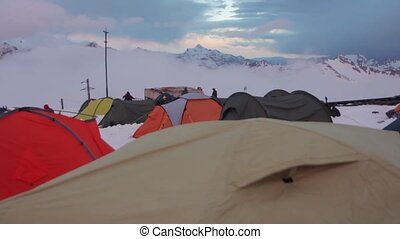 Mount Elbrus, Russia, Several tents at station Shelter 11 -...