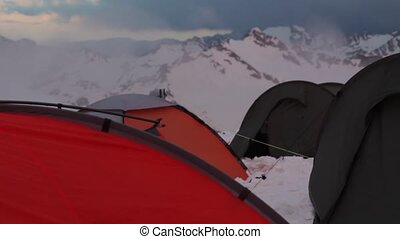 Mount Elbrus, Russia, Several tents at station Shelter 11