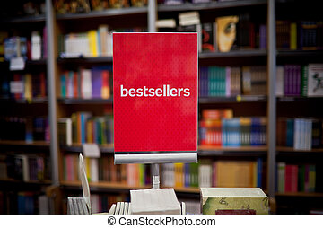Bestsellers area in bookstore - many books in the...