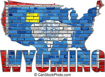 Wyoming on a brick wall