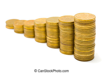 Gold money staircase isolated on white background