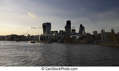 London by sunset, UK - London by sunset on the thames and...