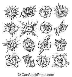 Versus sketsh labels isolated on white background. Doodle...