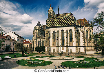 St. Michael chapel and St. Elisabeth cathedral in the main...