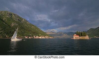 Yachts, boats, ships in the Bay of Kotor, Adriatic Sea, Montenegro