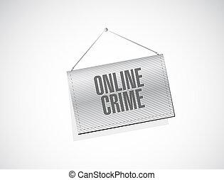 online crime banner sign concept illustration