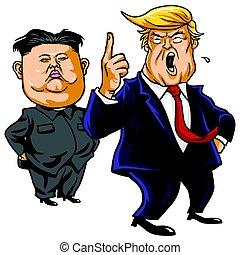 Donald Trump with Kim Jong-un Cartoon Vector. April 26, 2017...