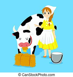 Milkmaid and Cow Vector - A milkmaid standing besides a cow...
