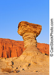 "Sandstone formation in Ischigualasto, Argentina, the one called ""the mushroom"". UNESCO world heritage site."