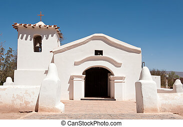 Old adobe church in the countryside of Argentina. - Old...