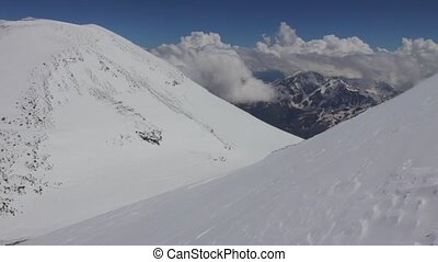 Snowy and deserted slopes of Mount Elbrus, highest point of...