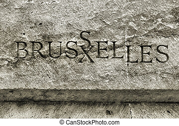 Bruxelles - name of Belgian city carved in stone