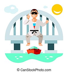 Vector Jumper from the bridge. Flat style colorful Cartoon...