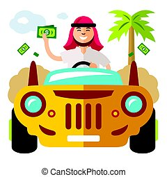 Vector Spender of money concept. Flat style colorful Cartoon illustration.