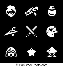 Vector Set of Space War Icons. - Man, weapon, robot,...