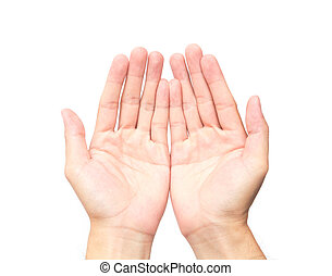Man empty hands open on white background