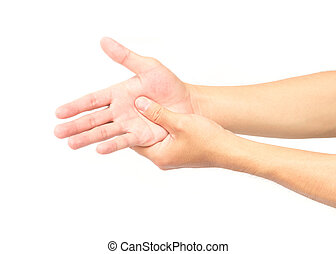 Man hand with pain on white background, health care and...