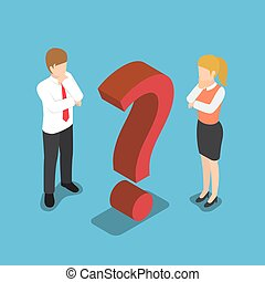 Isometric confused businessman with question mark sign.
