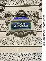 Paris street - Old street sign in Paris, France 7th...