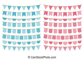 Blue and Pink Bunting