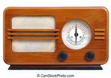 Retro radio isolated on white background