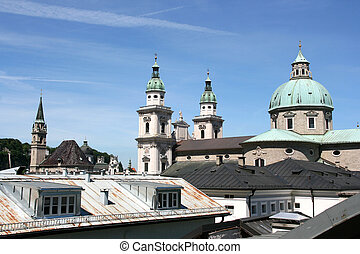 Salzburg skyline with cathedral on the right and Franciscan...