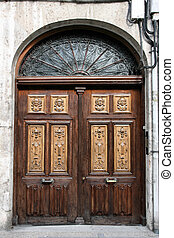 Valladolid - Wooden ornate door in Valladolid, Castilla y...