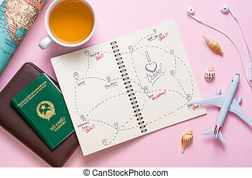 Open notebook with the route for your summer vacation