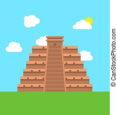 Mexico Chichen Itza Tulum Kukulcan Pyramid - Illustration...