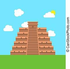 Mexico Chichen Itza Tulum Kukulcan Pyramid - Illustration...