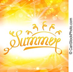 Summer Abstract Background with Text Lettering, Sun and Lens Flare