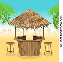 Beach Bar Thatch. Outdoor Background with Lounge Cafe -...